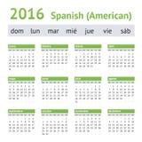 Calendario ispano-americano 2016 Inizio di settimana la domenica Fotografie Stock Libere da Diritti
