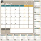Calendario italiano 2019 Royalty Illustrazione gratis