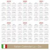 Calendario italiano 2019-2024 Illustrazione di Stock
