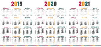 Calendario italiano 2019-2021 Royalty Illustrazione gratis