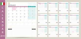 Calendario italiano 2019 illustrazione vettoriale