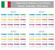 Calendario italiano 2013-2016 di tipo 1 Lunedì-Sun Fotografia Stock