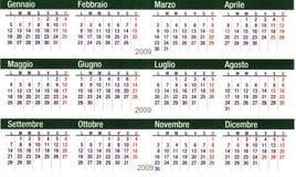 Calendario italiano del bolsillo Imagen de archivo libre de regalías