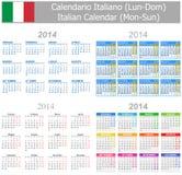 Calendario italiano Lunes-Sun de la mezcla 2014 Foto de archivo libre de regalías