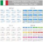 Calendario italiano Sun-Sat de la mezcla 2014 Foto de archivo