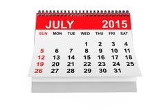 Calendario julio de 2015 Imagen de archivo libre de regalías