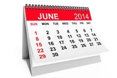 Calendario junio de 2014 Imágenes de archivo libres de regalías