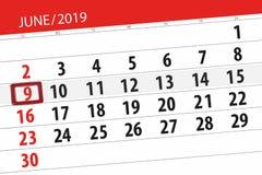 Calendario junio de 2019, 9, domingo imágenes de archivo libres de regalías