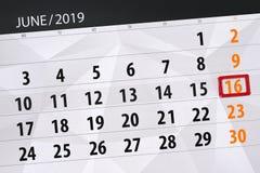 Calendario junio de 2019, 16, domingo fotos de archivo