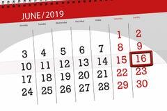 Calendario junio de 2019, 16, domingo imagen de archivo