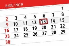 Calendario junio de 2019, 13, jueves imagen de archivo libre de regalías