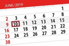 Calendario junio de 2019, 10, lunes fotos de archivo libres de regalías