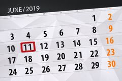 Calendario junio de 2019, 11, martes fotos de archivo libres de regalías