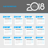Calendario 2018 - la settimana comincia lunedì Fotografie Stock