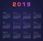 Calendario 2019 La settimana comincia a partire da domenica Fotografia Stock