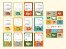 Calendario lindo por 2020 años con las tazas de té teatime Hay siempre hora para el t? Plantilla colorida del vector Comienzo de  libre illustration