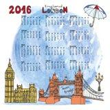 Calendario 2016 Londra Panorama dei punti di riferimento, acquerello Immagine Stock