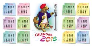 Calendario luminoso per 2018 con un cane Fotografia Stock Libera da Diritti