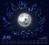 Calendario, luna, costellazioni dello zodiaco, 2018, fondo del cielo notturno, segnante Immagini Stock