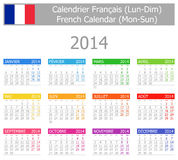 Calendario Lunedì-Sun di tipo 1 di 2014 francesi Fotografia Stock Libera da Diritti