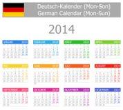 Calendario Lunedì-Sun di tipo 1 di 2014 tedeschi Immagini Stock