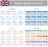 Calendario Lunes-Sun de la mezcla de 2014 ingleses Fotografía de archivo libre de regalías