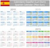 Calendario Lunes-Sun de la mezcla de 2015 españoles Foto de archivo libre de regalías