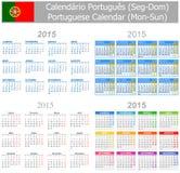 Calendario Lunes-Sun de la mezcla de 2015 portugueses Fotografía de archivo libre de regalías