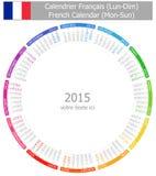 Calendario Lunes-Sun del círculo de 2015 franceses Imagen de archivo libre de regalías