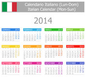 Calendario Lunes-Sun del tipo 1 de 2014 italianos Imagen de archivo libre de regalías
