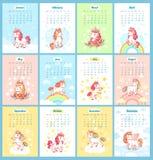 Calendario mágico lindo dulce del unicornio 2019 para los niños Los unicornios de hadas con la historieta del arco iris vector la libre illustration
