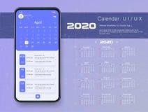 Calendario móvil del app comienzo domingo de 2020 semanas libre illustration