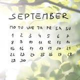 Calendario a mano para el mes de septiembre Fotografía de archivo libre de regalías
