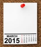 Calendario marzo de 2015 Imagenes de archivo
