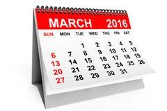 Calendario marzo de 2016 Imagen de archivo libre de regalías