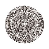 Calendario maya d'annata cultura azteca indigena tradizionale Il Messico monocromatico antico Indiani americani mano incisa illustrazione vettoriale