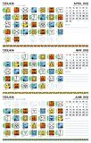 Calendario Mayan, aprile il giugno 2012 (americano) Immagine Stock