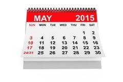 Calendario mayo de 2015 Fotografía de archivo