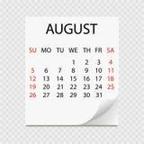Calendario mensile 2018 con il ricciolo della pagina Sradichi il calendario per il fondo di August White Immagine Stock Libera da Diritti