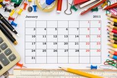 Calendario mensile con l'ufficio Immagine Stock Libera da Diritti
