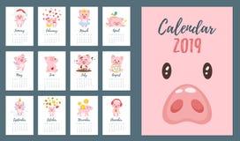 calendario mensile 2019 di anno del maiale immagini stock