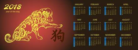 Calendario mensual 2018 con el perro lindo El invierno, primavera, verano, otoño sazona caracteres Ejemplo del vector para el pla stock de ilustración