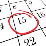 Calendario mensual - décimo quinto día circundado Imagen de archivo