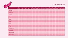 Calendario mensual de la menstruación del ciclo menstrual con la mariposa rosada stock de ilustración