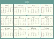 Calendario mensual del año 2018 stock de ilustración