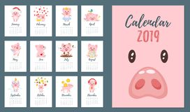 calendario mensual 2019 del año del cerdo imagenes de archivo