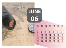 Calendario mensual del a?o 2019 de junio foto de archivo libre de regalías