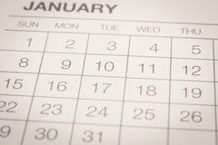 Calendario mensual en enero, estilo del vintage Foto de archivo libre de regalías