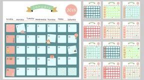 Calendario mensual lindo colorido 2018 con la ardilla, pato, reno, ilustración del vector