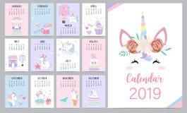 Calendario mensual lindo 2019 con el unicornio principal, diamante, corazón, ballo libre illustration